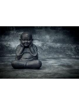 Budai calvo, con la cabeza apoyada en las manos