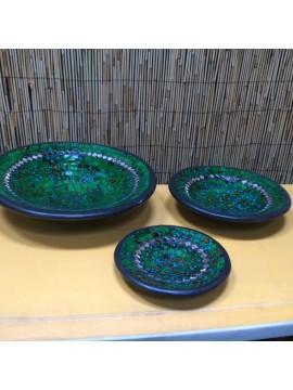 Set 3 fuentes de cerámica y mosaico de vidrio